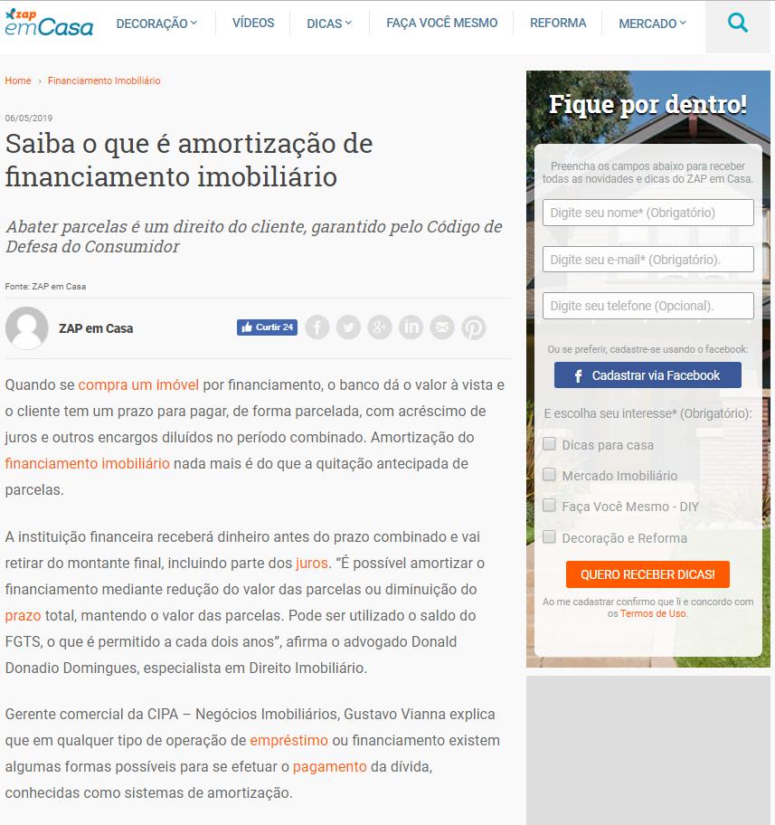 ZAP EM CASA: AMORTIZAÇÃO DE FINANCIAMENTO
