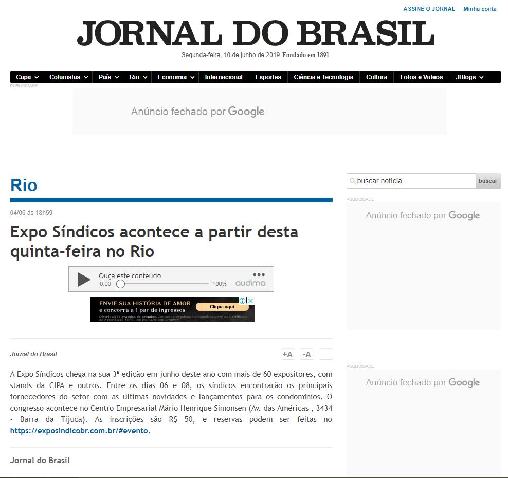 JORNAL DO BRASIL: EXPO SÍNDICOS