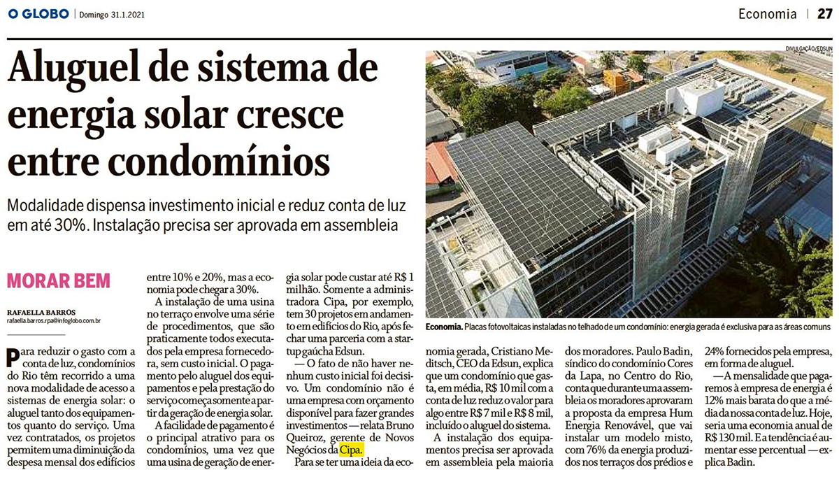 O Globo: Aluguel de sistema de energia solar cresce entre condomínios