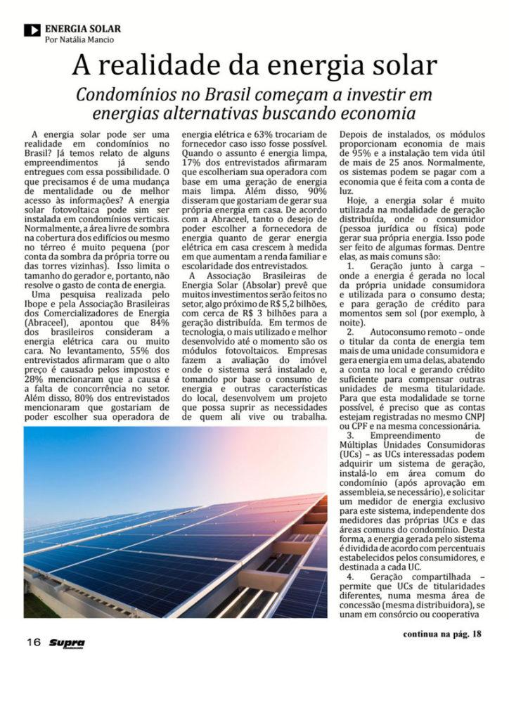 Supra Condomínio: A realidade da energia solar