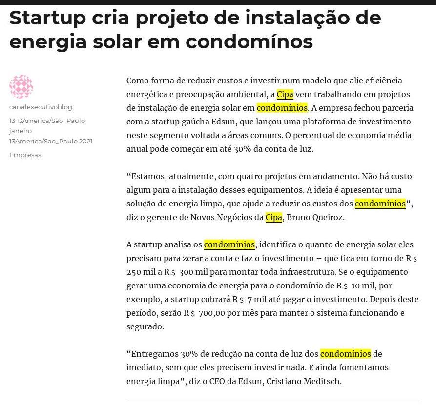 Startup cria projeto de instalação de energia solar