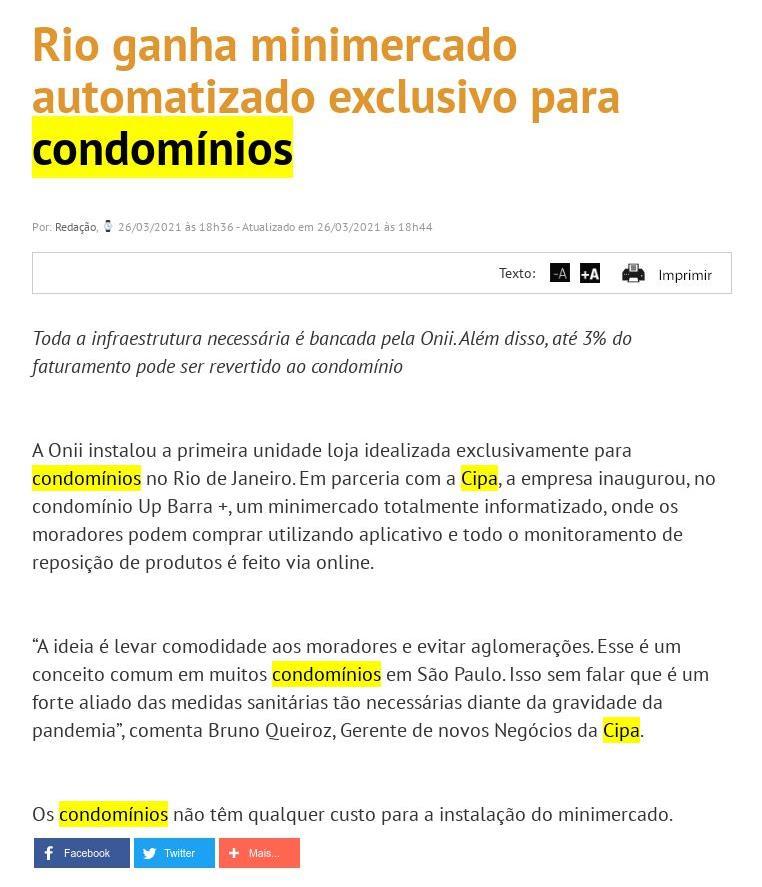 Rio ganha minimercado automatizado exclusivo para condomínios