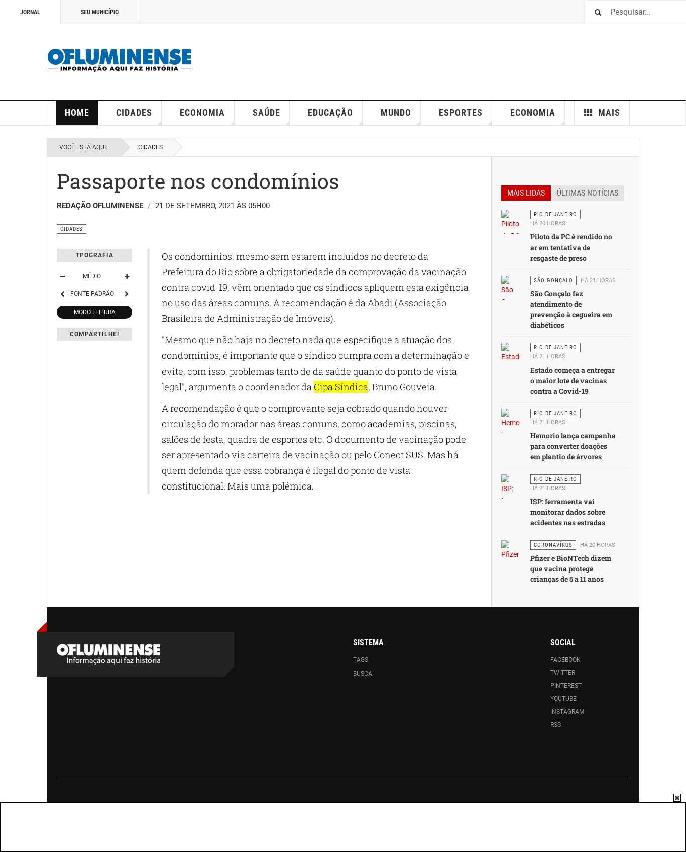 O Fluminense: Passaporte nos condomínios